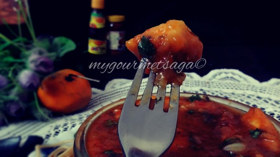 Paneer tossed in Spicy Chili Orange Sauce